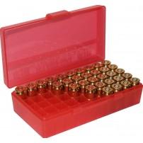 MTM - P50-9M BOX RIGIDO PORTACOLPI Cal.9mm 50 COLPI - ROSSO TRASPARENTE