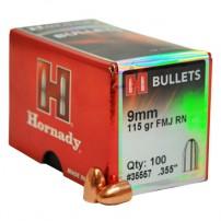 Palle Hornady cal.9mm.355'' 115grs FMJ RN BULLETS - 35557