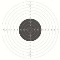 BERSAGLIO in carta COMPETIZIONE per armi da fuoco 53x53 - Centro bersaglio Nero