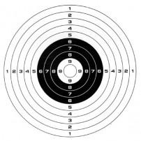 BERSAGLIO in carta STANDARD per armi da fuoco 53x53 - Centro bersaglio Bianco