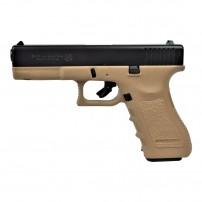 BRUNI Pistola a salve GAP replica di GLOCK 17 Cal.9mm PAK BICOLORE NERA/TAN (DESERT)