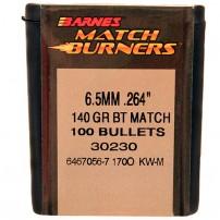 BARNES - PALLE BT MATCH BURNETS Cal.6,5mm.264'' 140grs - 30230 Conf. da 100 pz.